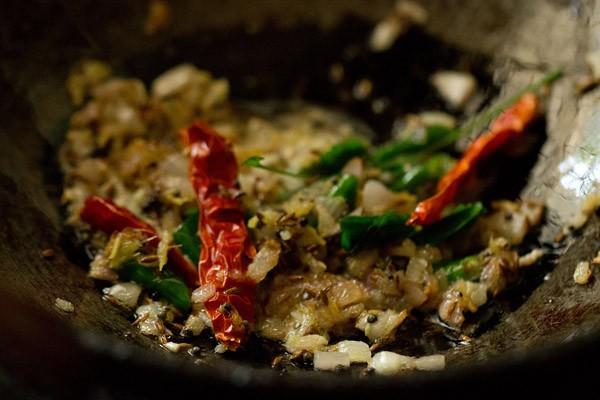sauteing dal fry masala