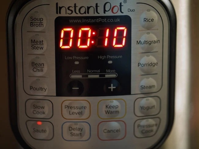 instant pot switched on