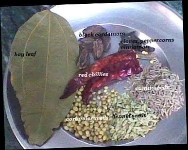 spices for Punjabi chole recipe