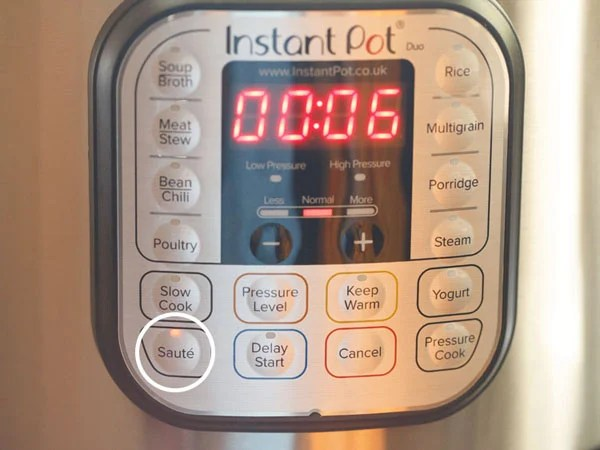 Pressing the sauté button in IP and setting time for 6 minutes