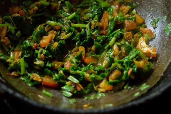 making spinach dal recipe