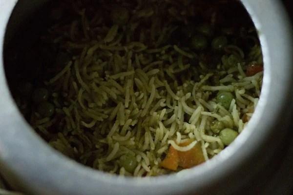 making mint rice recipe, making mint pulao recipe
