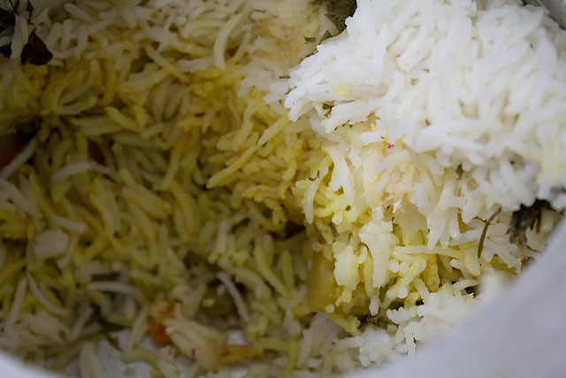 layers of the Hyderabadi veg biryani