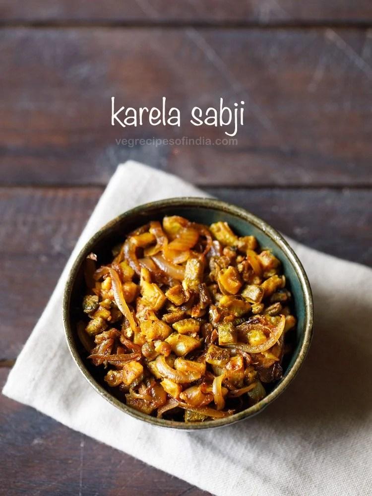 karela sabji recipe, dry bitter gourd curry