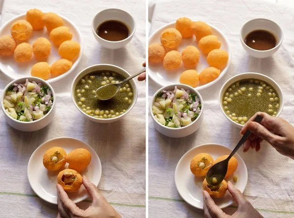 adding green chutney in the pani puri