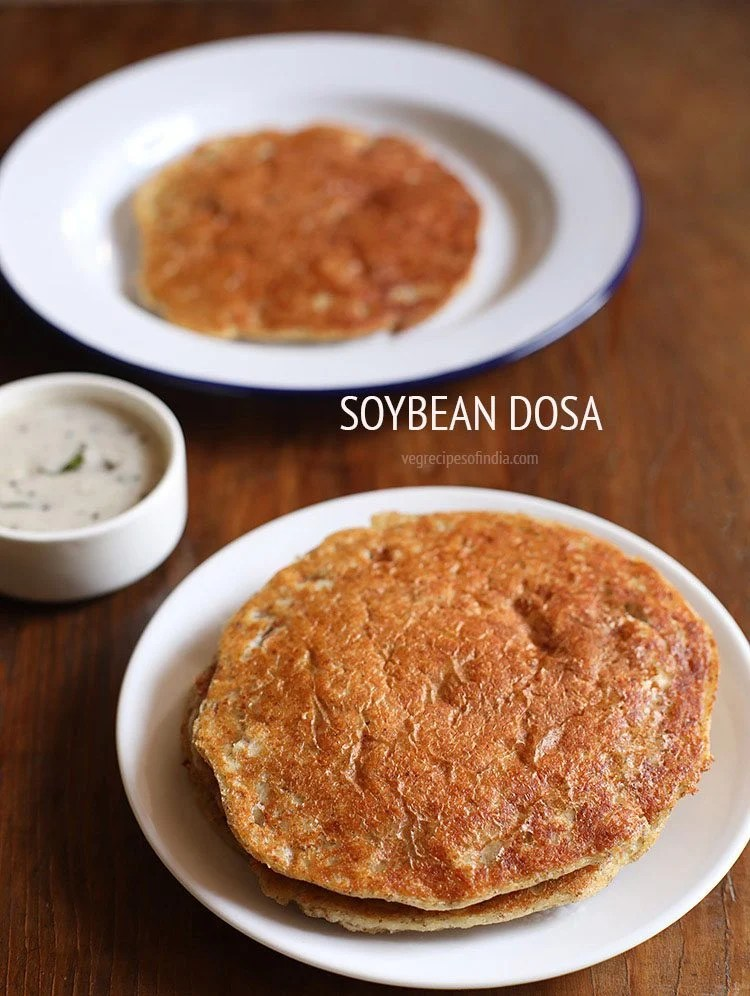 soyabean dosa served in a plate