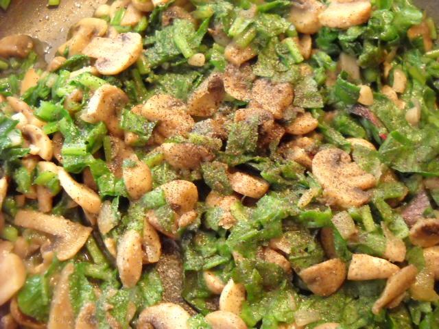 making for mushroom spinach recipe
