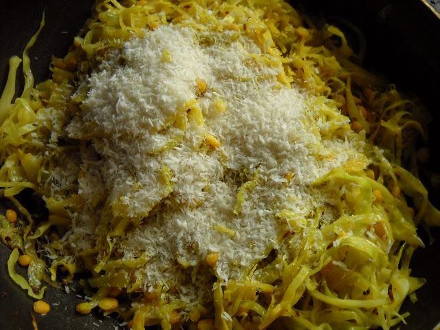 adding coconut to cabbage upkari recipe