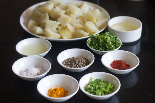 all the ingredients set aside for making jeera aloo