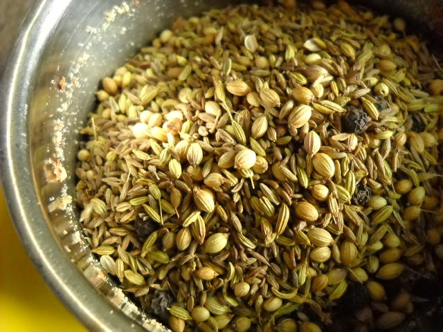 sesame seeds and spices added for dukkah
