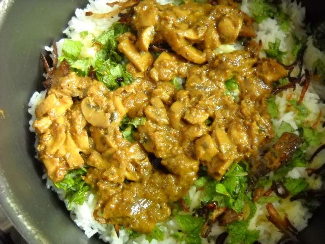 third layer of mushroom biryani recipe