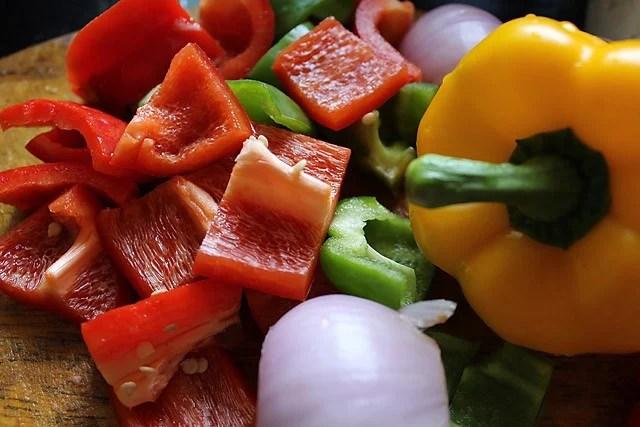 paneer tikka recipe - chopping veggies