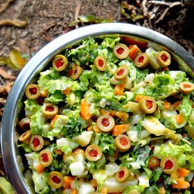 spanish salad, vegetarian spanish salad, eggless spanish salad recipe