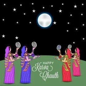 a vector image with four women in indian saree celebrating karwa chauth festival