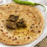 paneer paratha with mango pickle