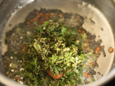 herbs and spices coarse mixture added in the pan
