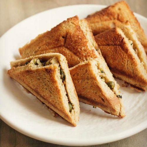 matar paneer toast sandwich recipe