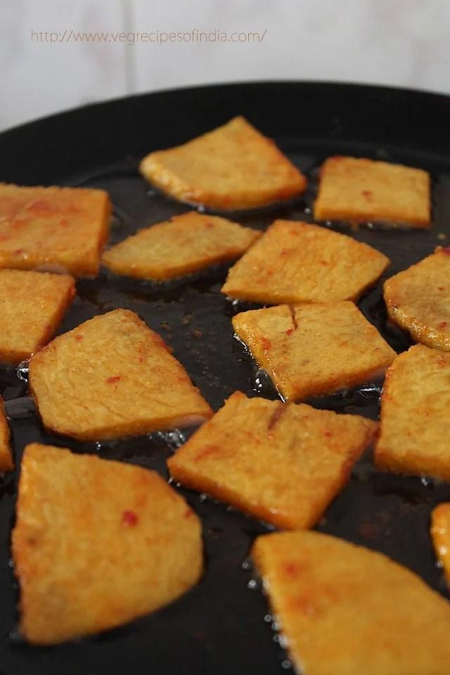frying - yam chips recipe, frying - suran chips recipe