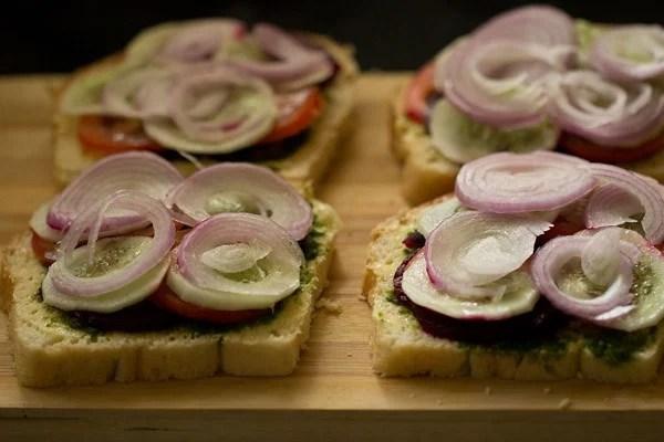 making veg sandwich recipe, making sandwich recipe