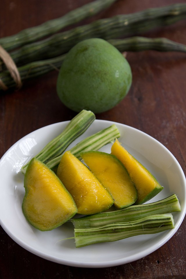 raw mangoes and drumsticks