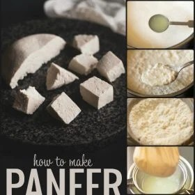 collage of the process of making paneer with sliced paneer cubes