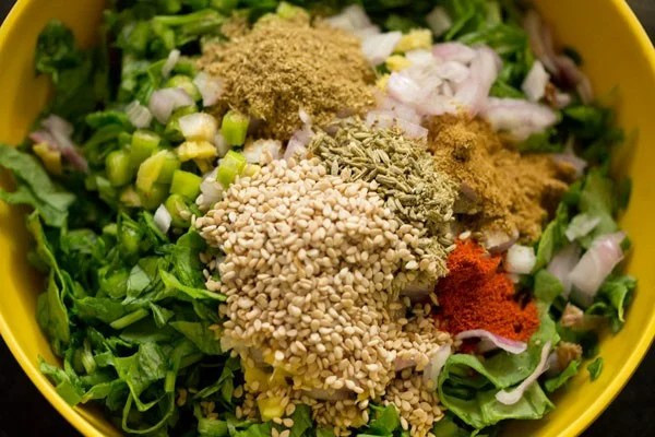 ground spices, salt and white sesame seeds added