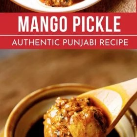 This is an authentic Punjabi Mango Pickle which is sour, spiced and so good. You willl love to have this pickle with your main meals as well as with Indian meals. The mango pickle recipe is naturally vegan and gluten-free too. #mangopickle #punjabimangopickle #aamkaachar #pickle #rawmangoes #unripemangoes #indianmangopickle #pickles