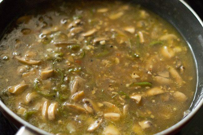 chilli mushroom recipe, chilli mushroom gravy recipe