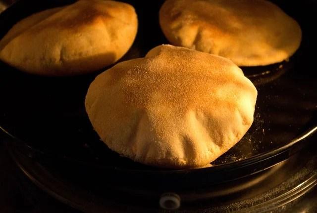 puffed pita bread