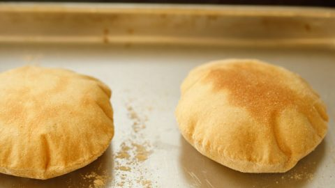 puffed up oven baked pita breads