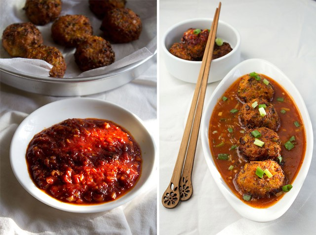 veg balls in hot garlic sauce recipe