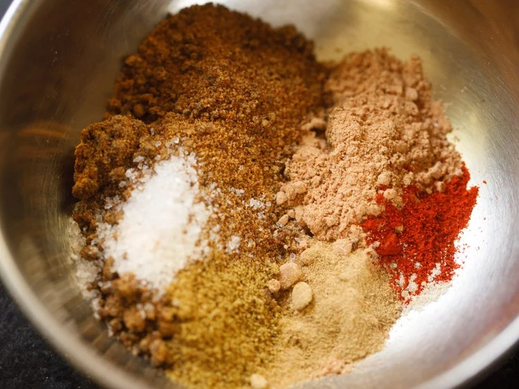 spice powders and salt in a bowl