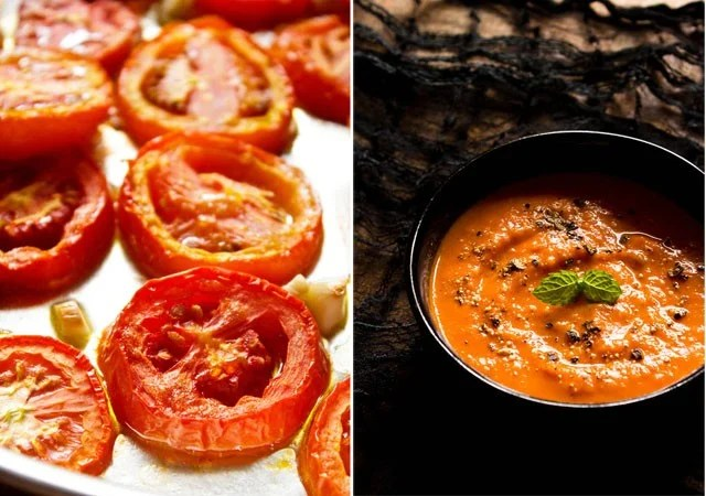 roasted tomatoes and soup