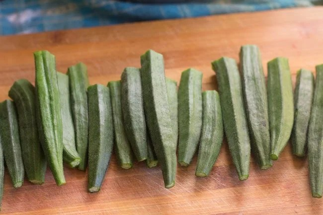 bhindi without the stalks and tips