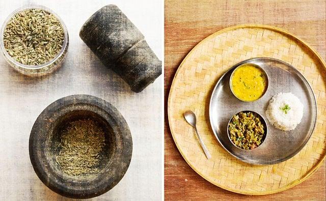 ground fennel & bhindi bhaji with dal rice