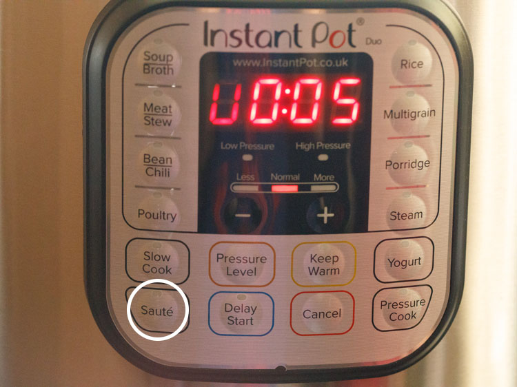 Press the saute button on the instant pot on normal mode