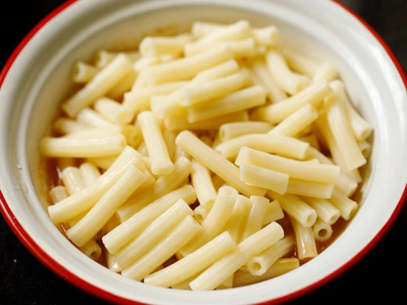 cooked and drained pasta add to dressing