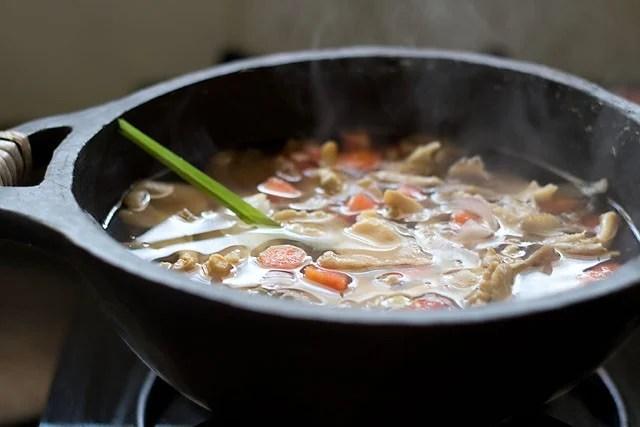 simmer the tofu soup
