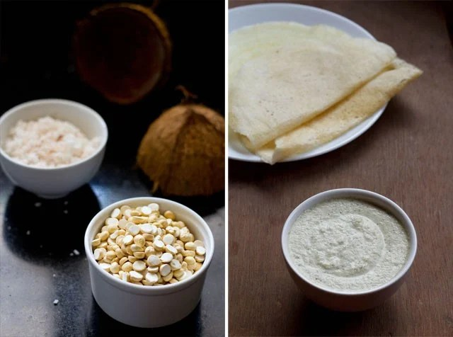 collage of hotel style coconut chutney recipe served in a bowl with dosa and roasted chana dal in a bowl