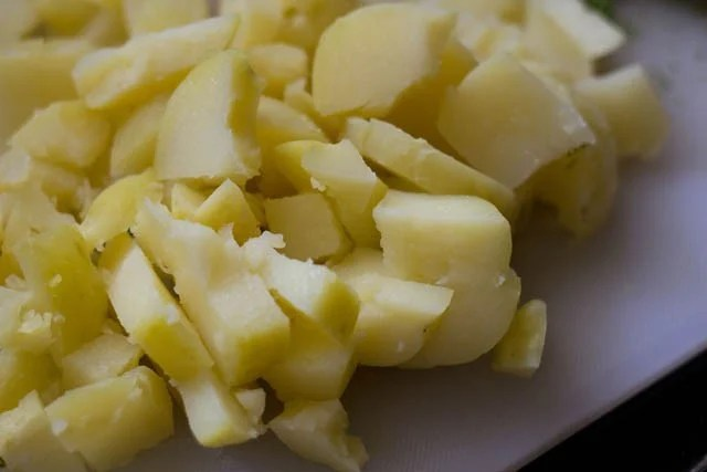 chopped and peeled boiled potatoes