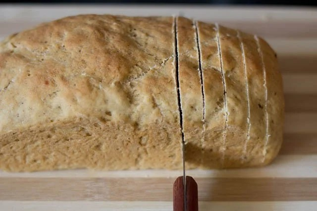 slice the bread into equal width slices