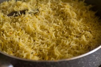Kashmiri pulao in pot after rice has absorbed all the water