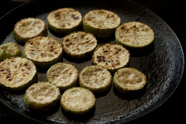 frying lauki for lauki yakhni recipe