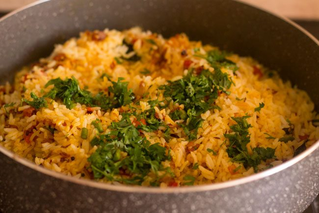 masala rice garnished with coriander leaves