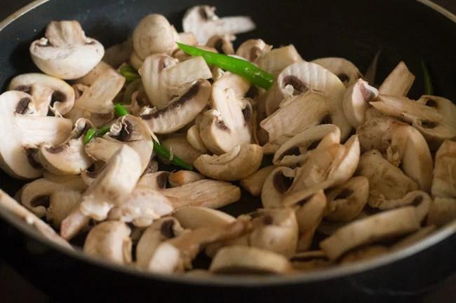 chopped mushrooms in the pan