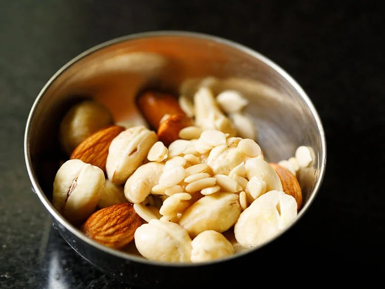 nuts and melon seeds rinsed in a bowl