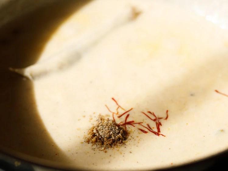 cardamom powder and saffron strands added