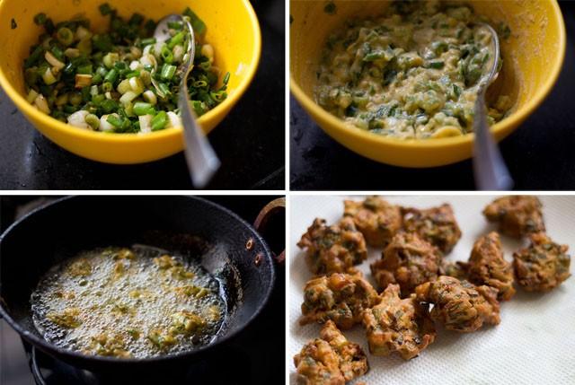 spring onion pakora recipe steps