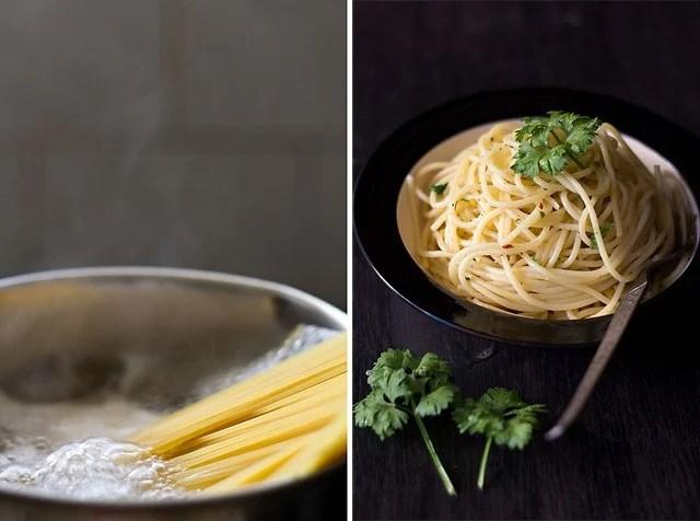 Italian spaghetti olio e aglio