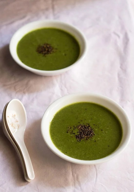 spinach soup, palak soup